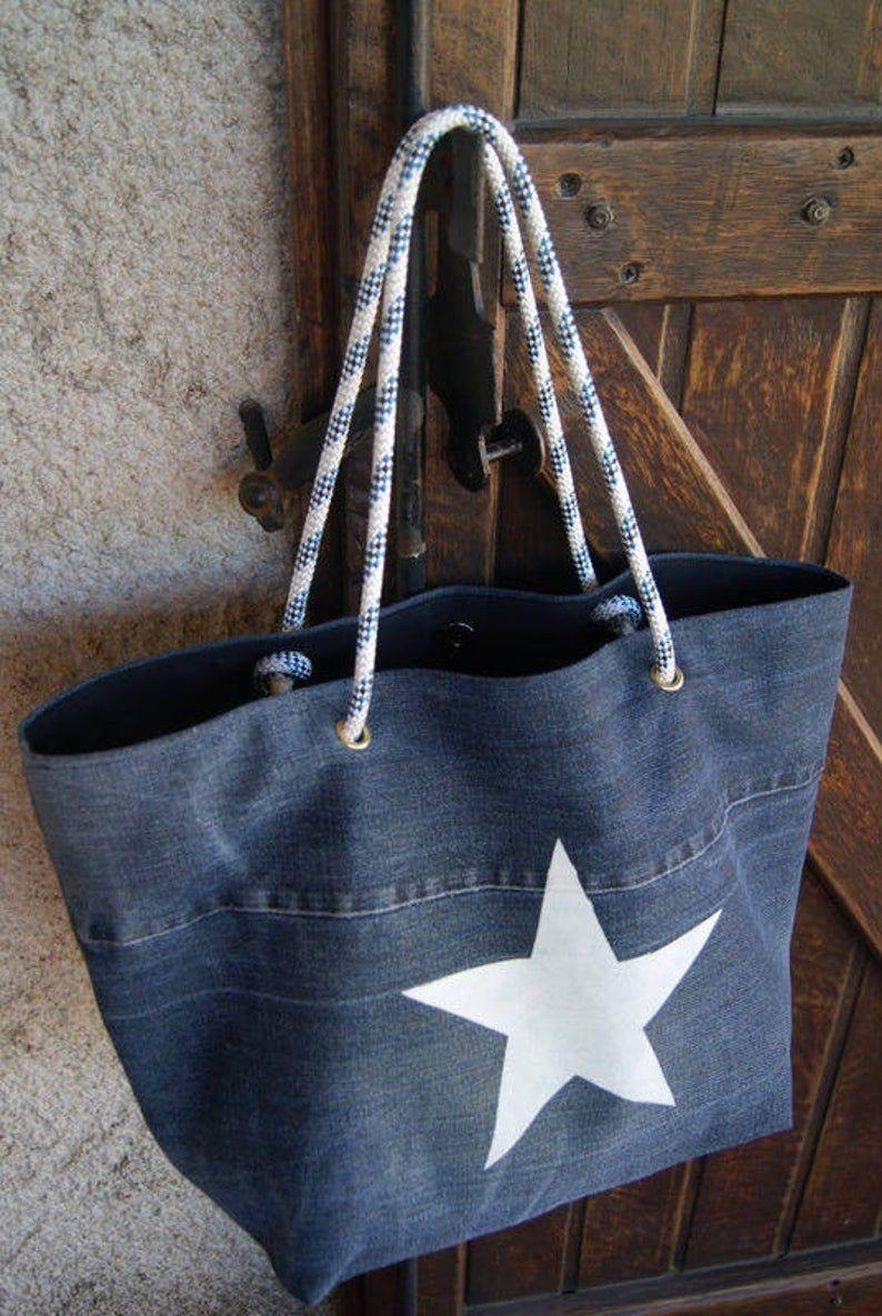 Sac cabas en jean recyclé et anses en corde