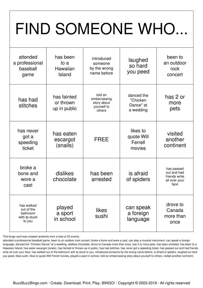Randomly Generated Getting To Know You Bingo Card