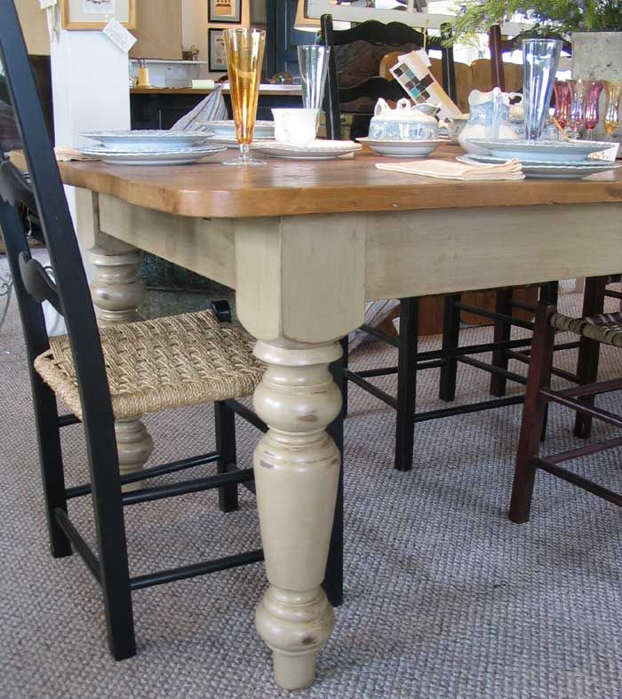 French Country Farm Table With Vintage Pine Wood Top And 5 Inch Thick Leg  Finished In Millstone Green Milk Paint Color And Stained In Natural Stain