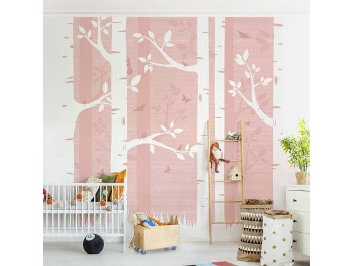 Photo of Semi-gloss wallpaper birch forest with butterflies and birds