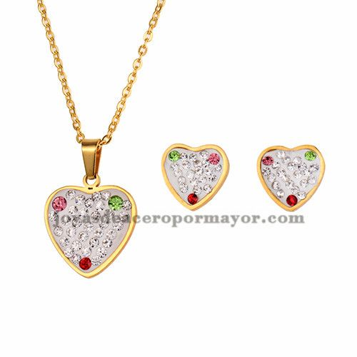 juego collar y aretes de corazon cristal brillante en acero dorado inoxidable…