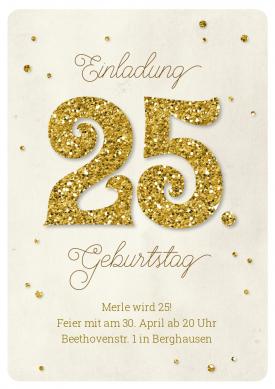 Einladungskarte Zum 25. Geburtstag In Hippem Vintage Stil Mit Glitter 25  Und Konfetti