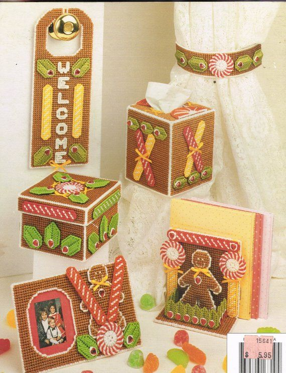 Gingerbread House & Tissue Box Cover Plastic Canvas