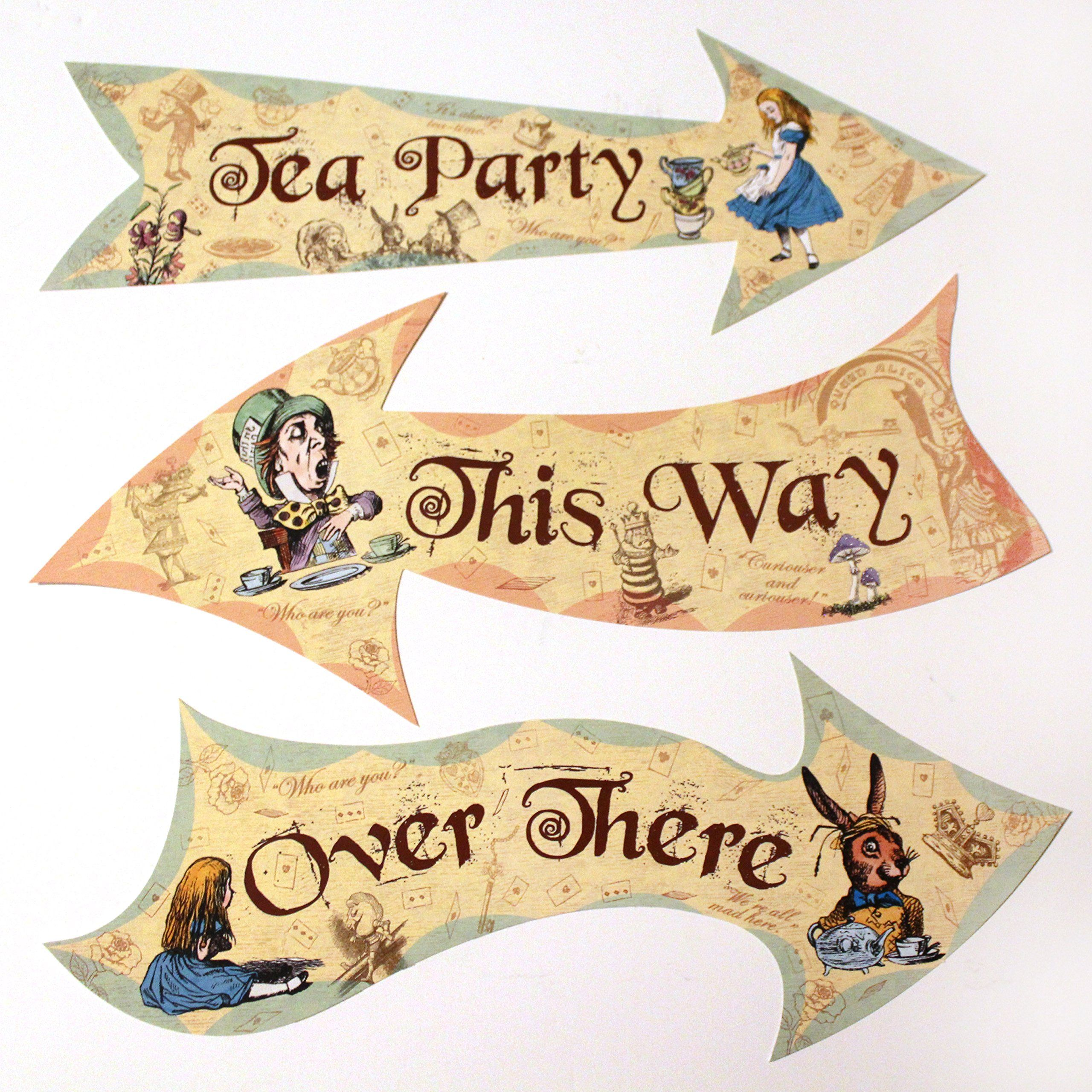 Alice in wonderland party vintage style arrow signs mad for Mad hatter party props