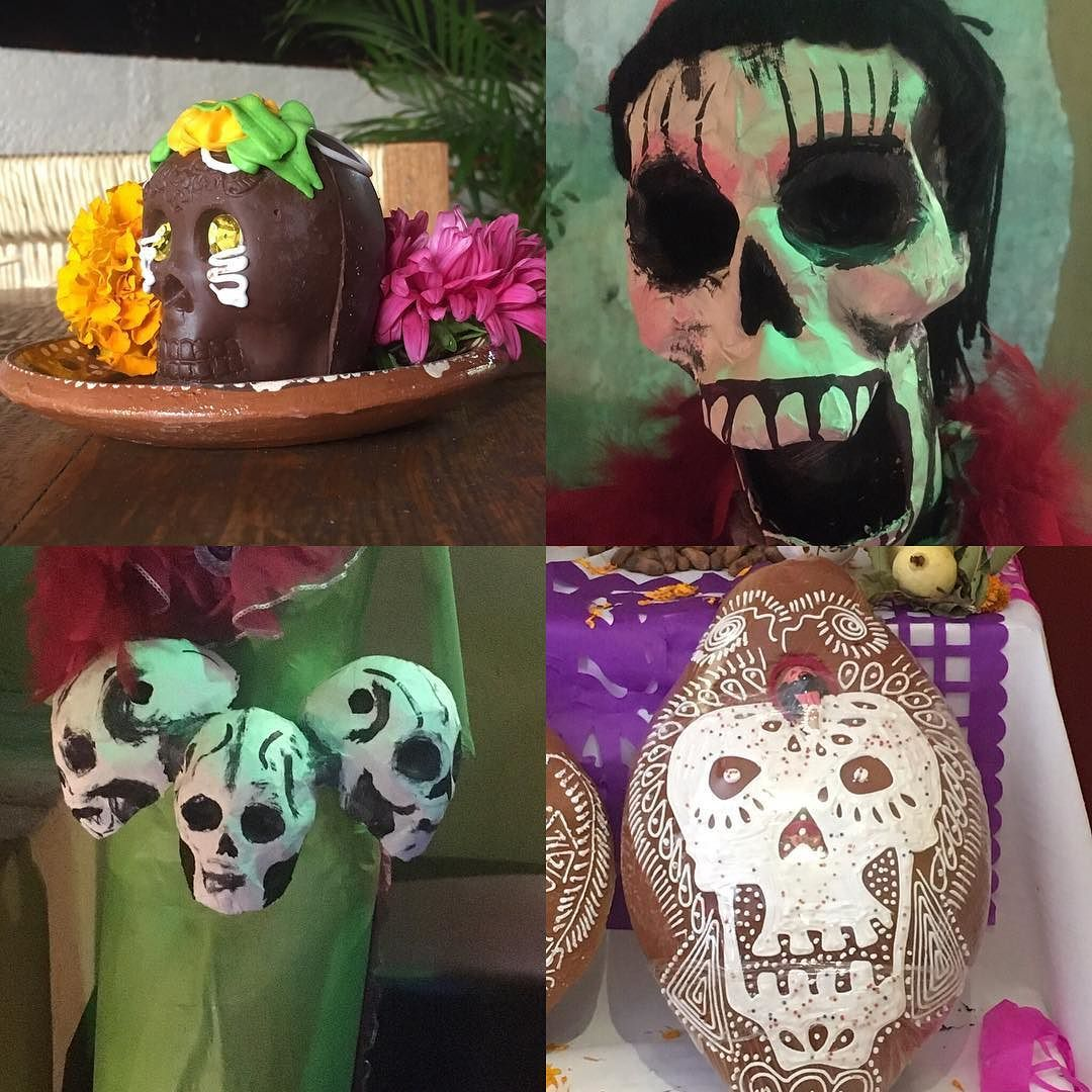 Day of Dead ended and these are now down & stored until next year. It was strange walking around with no characters and no altar at Viajero Cafe. #305artist #artjournaling #oaxacamexico #creativepractice