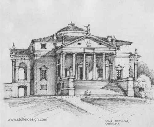Sketch Of The Villa Rotonda Vincenza Italy Print Architecture Drawing Italy Print Reims Cathedral