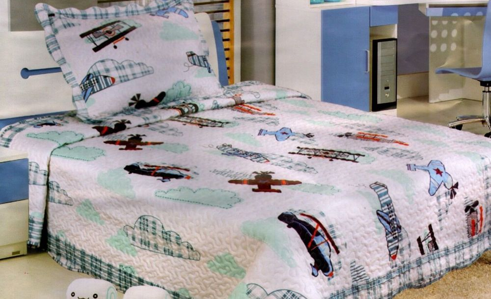 2 Pc Twin Quilt Coverlet Bunk Bed Cover Airplane Bi Plane Clouds