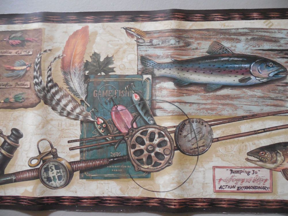 Fly Fishing Trout Cabin Wallpaper Border 9 X 15 New Wallpaper Border Wallpaper Fly Fishing