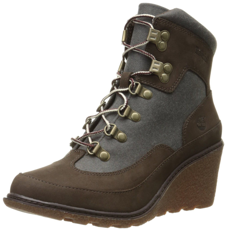 Timberland Women's Amston Leather Fabric Hiker Boot, Dark Brown Nubuck/Black  Waxed Canvas, 6 M US