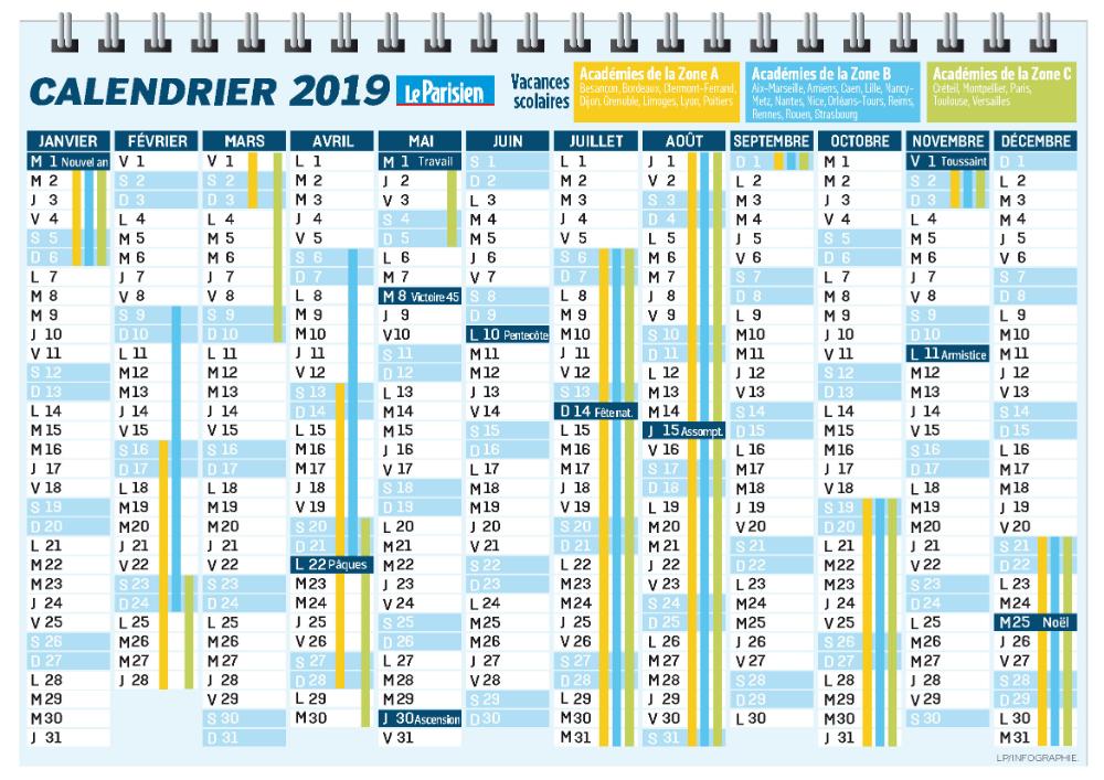 Calendrier Vacances 2019 Et 2022 calendrier 2019 imprimable avec jours fériés et vacances