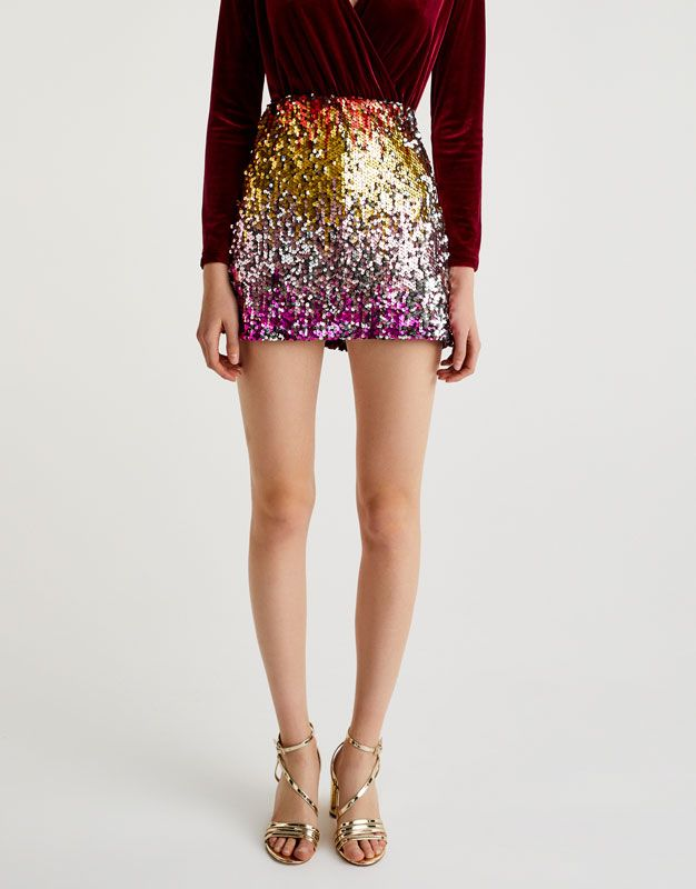 Colourful Sequinned Skirt Skirts Clothing Woman Pull Amp Bear Ireland