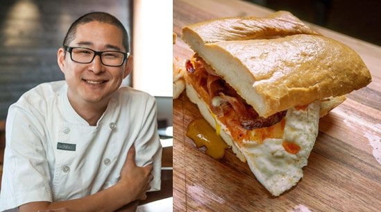 Fried-Egg Sandwich with Kimchi and Bacon  Recipe adapted from Tim Dornon, Uchiko, Austin, TX