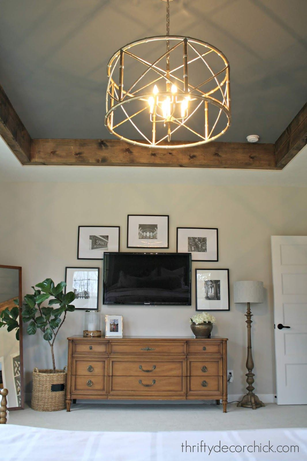 Cozy tray ceiling makeover in the master Tray ceiling