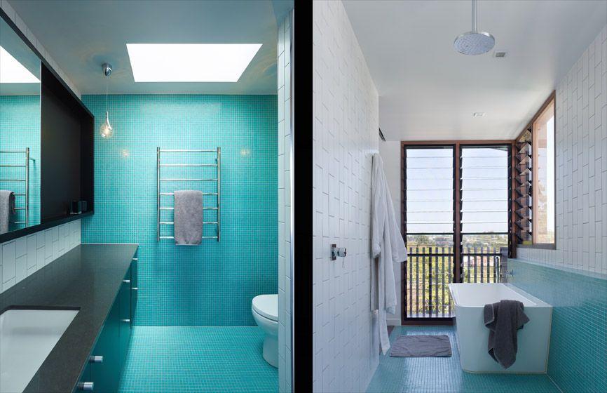 Badezimmer Design-Ideen Verwenden Sie die gleiche Fliese auf den