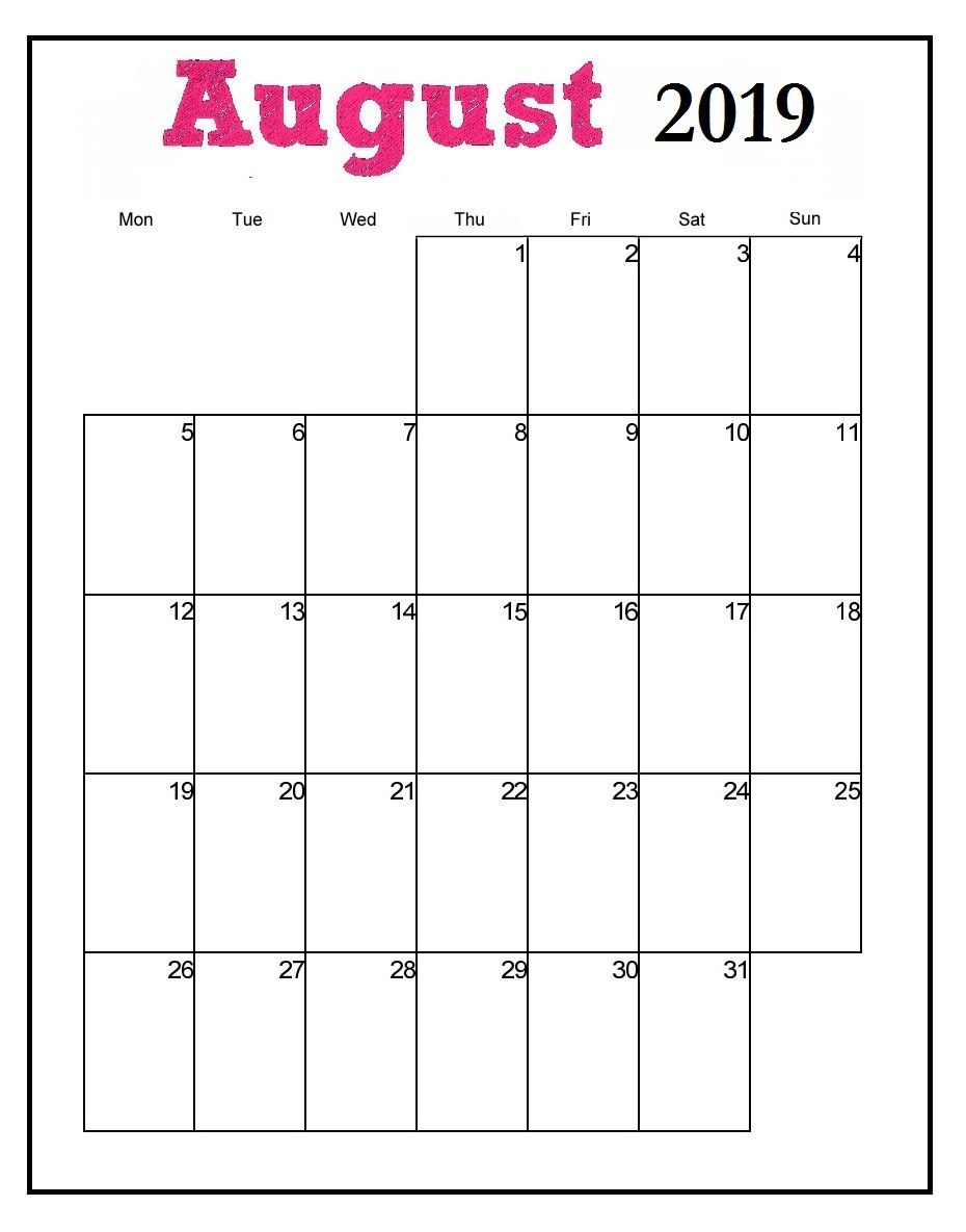image relating to Printable Calendar Aug known as Printable August 2019 Vertical Calendar 2019 Every month