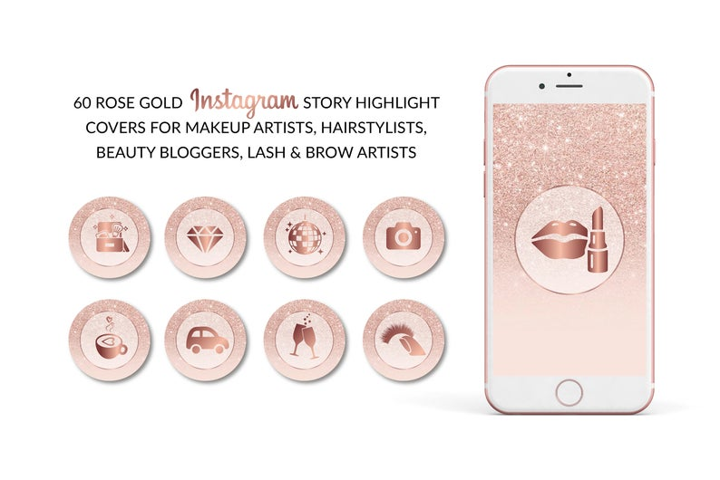 Amelia Social Media Story Icons Makeup Hair Rose Gold Insta Etsy Story Highlights Rose Gold Hair Face Products Skincare