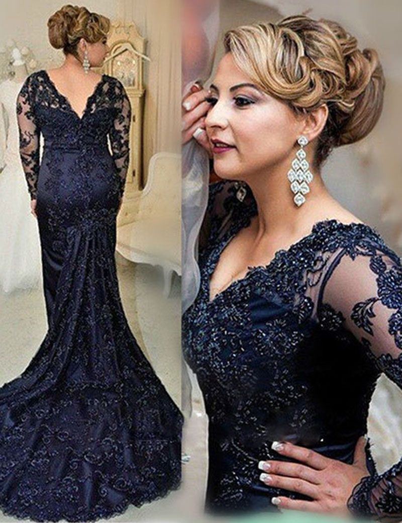 Navy blue vneck long sleeves sweep train lace mother of the bride