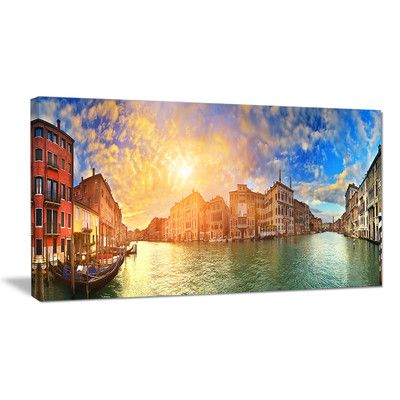 """DesignArt Grand Canal Venice Panorama Photographic Print on Wrapped Canvas Size: 28"""" H x 60"""" W x 1"""" D"""