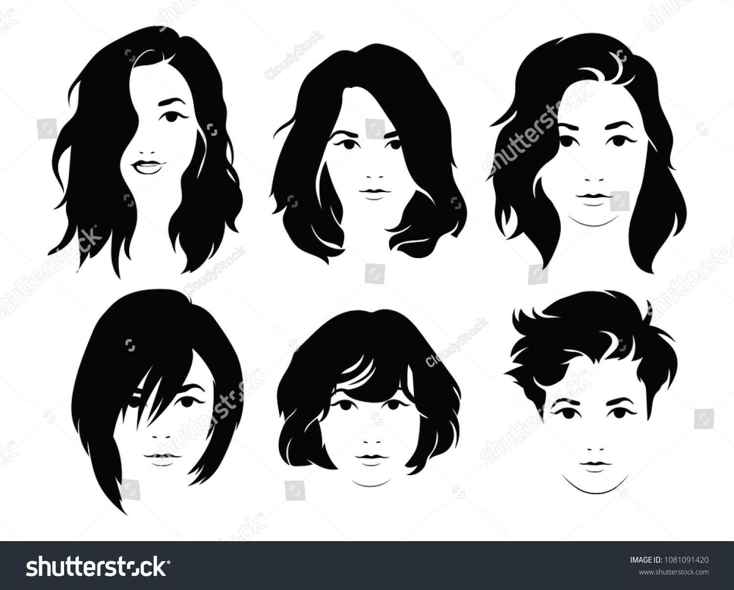 Set Of Hairstyles For Women Collection Of Black Silhouettes