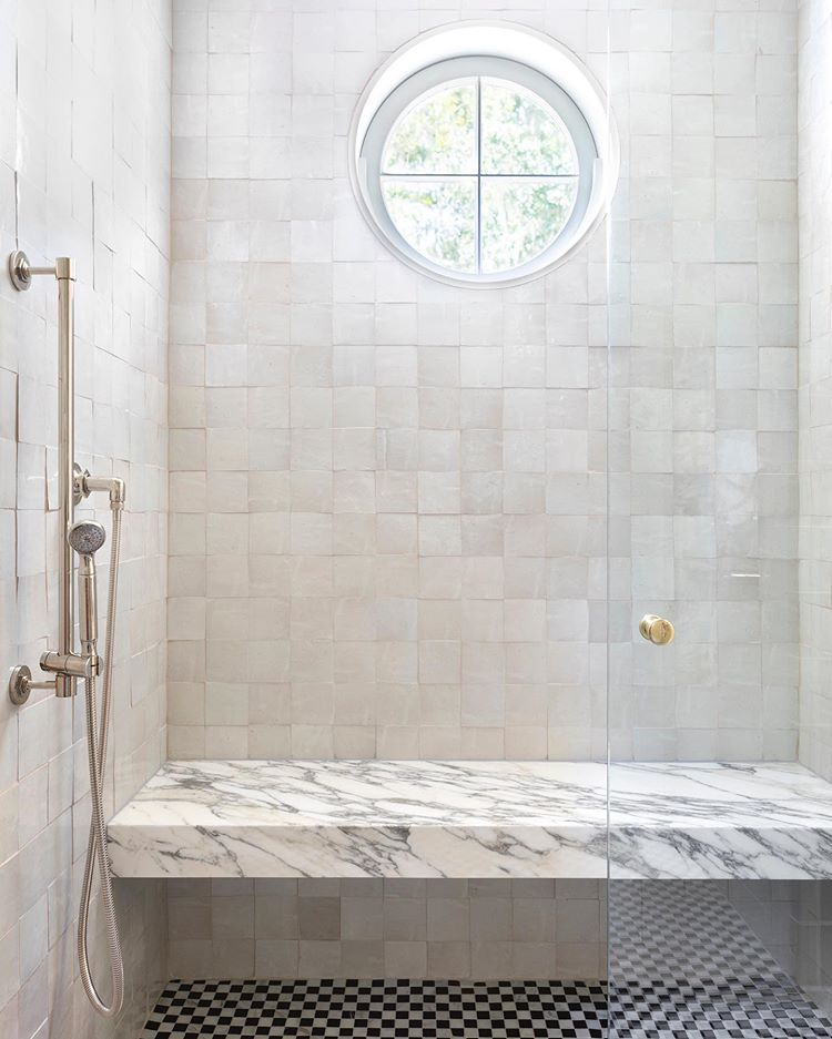Marble bathrooms 458522805814623174 - A detail shot of the shower at our #haystowncountryestate project. These black and white marble check floors are the bee's knees!! We want… Source by mdquemereuc