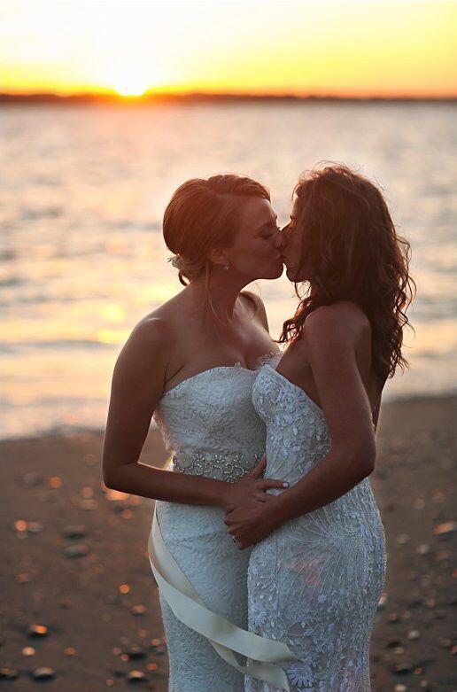 Lesbian beach wedding | Lesbian beach wedding, Lesbian