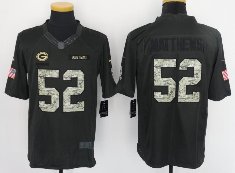 online store 5a130 6fc2b Green Bay Packers 52# Matthews black Salute TO Service ...