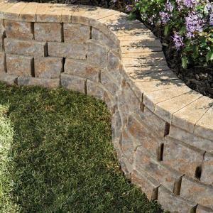 Pavestone 8 In Concrete Rockwall Yukon Medium Retaining Garden Wall Block Cap 79950 At The Home Depo Brick Wall Gardens Concrete Retaining Walls Concrete Wall