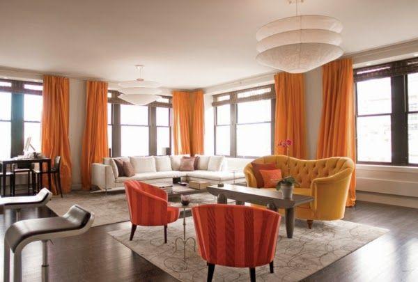White Living Room Design Ideas   Orange Curtains And Furniture