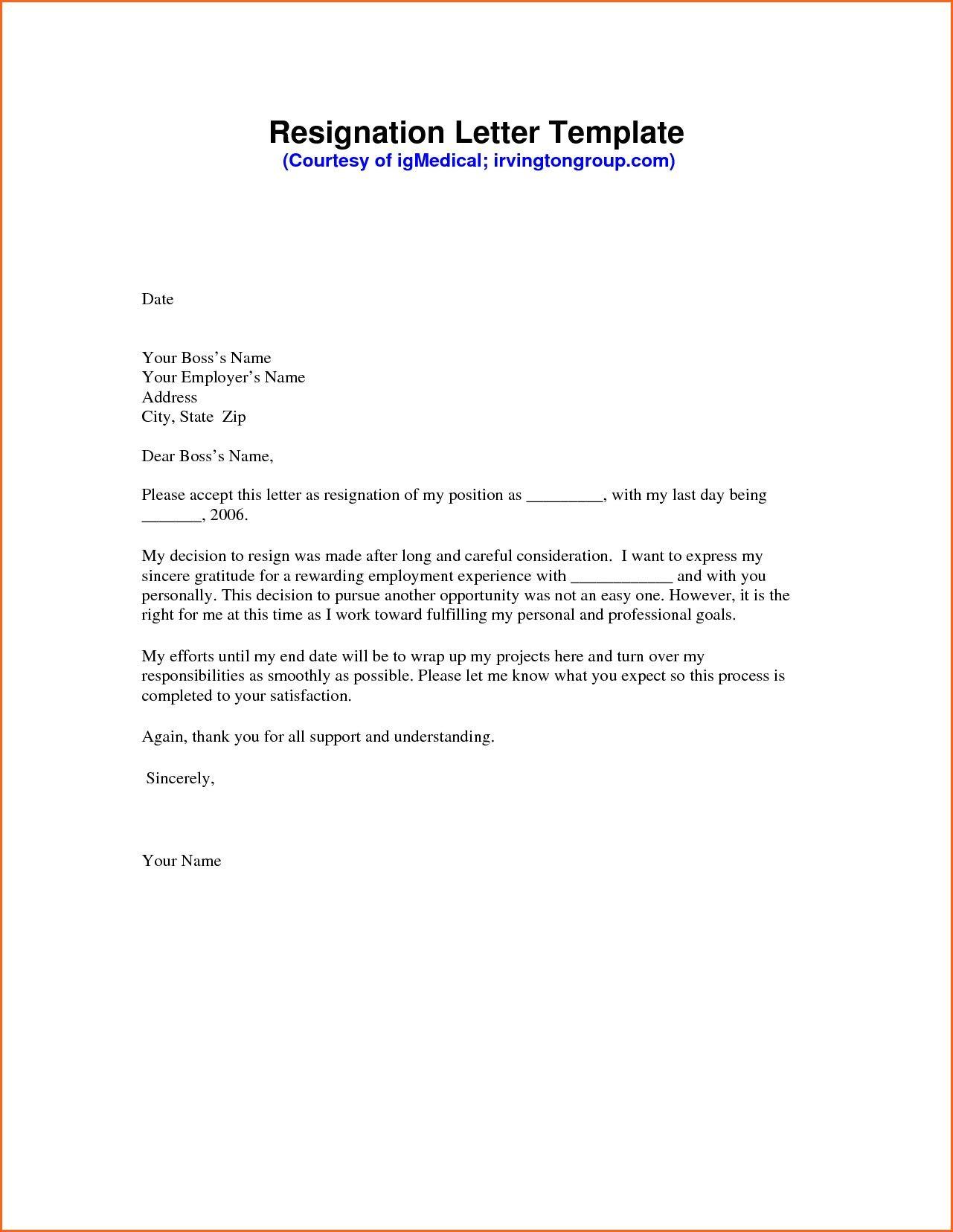 New Resignation Letter Immediate Resignation Template