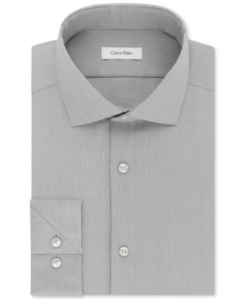 9ae287778 Calvin Klein Men s Steel Slim-Fit Non-Iron Stretch Performance Unsolid Dress  Shirt - Gray 17.5 32 33