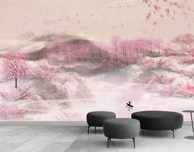 Papier peint asiatique aspect ancien tapisserie florale romantique