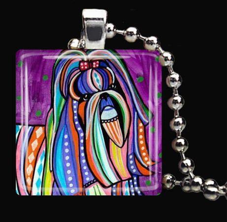 Shih Tzu Charm Necklace Dog Tag Jewelry Silver Glass Christmas Gift Folk Art