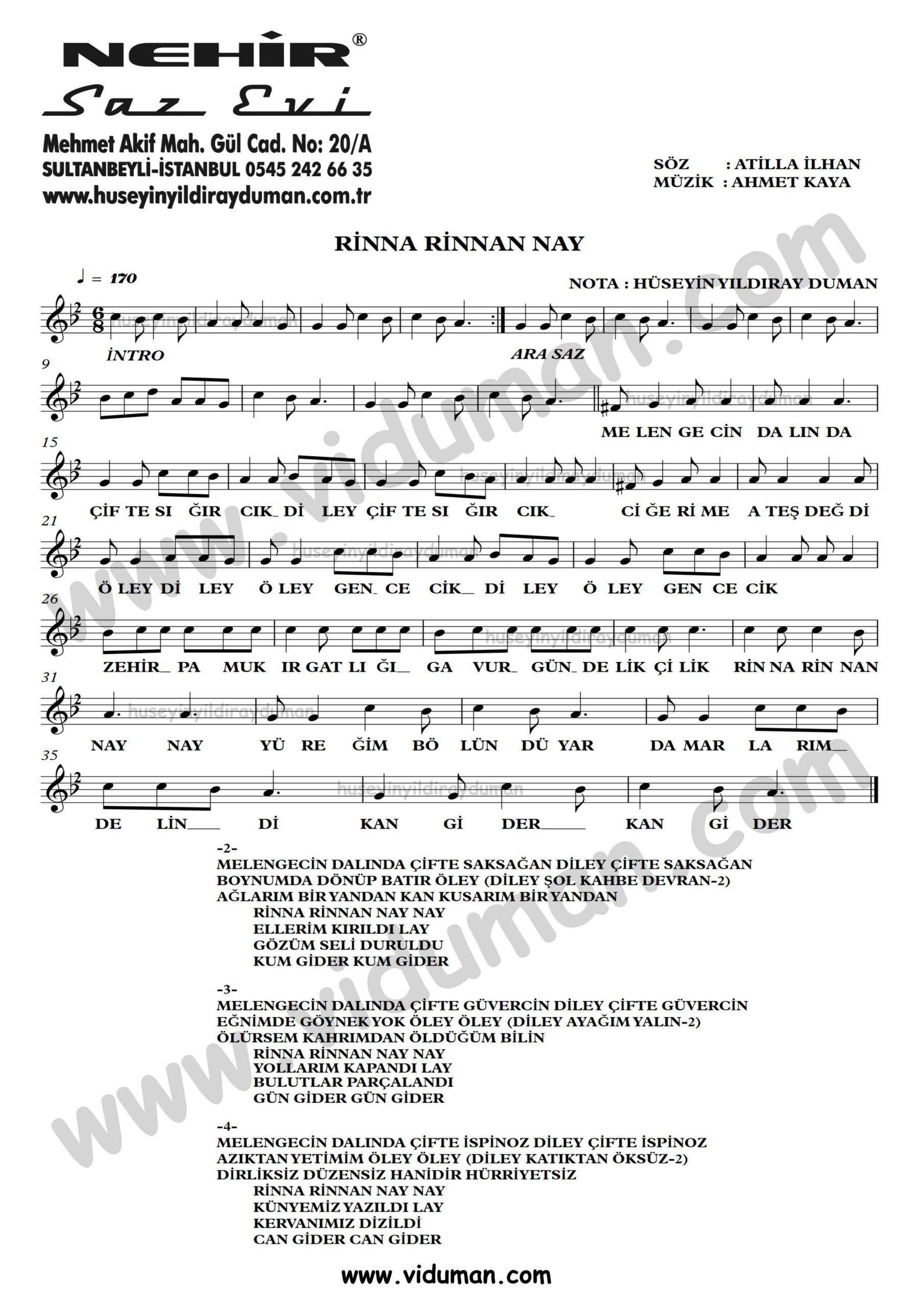 Rinna Rinnan Nay Ahmet Kaya Nota Baglama Saz Turku Notalari Muzik Notalari Muzik