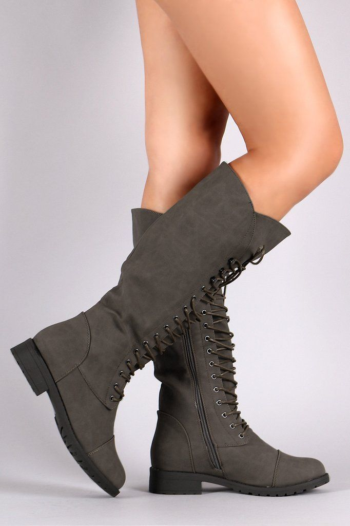 Combat Lace-Up Knee High Military Boots