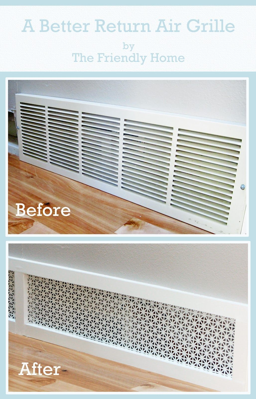 The friendly home a better looking return air grille for Www the house com returns