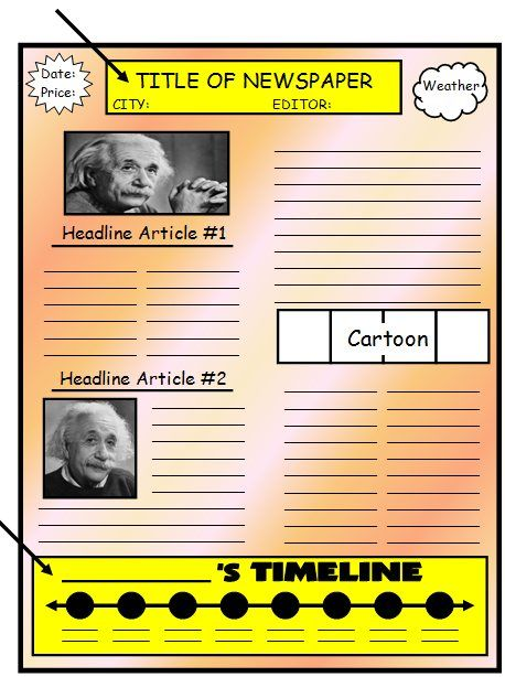 Biography Book Report Newspaper templates, worksheets, and - newspaper templates for kids