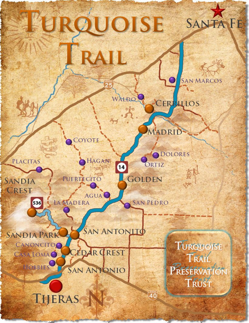 turquoise trail new mexico map Turquoise Trail Towns Nm Ttpt Turquiouse Trail Map W Towns