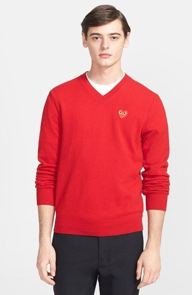 b910f699e030 Men s Comme des Garcons  Play  Wool V-Neck Sweater with Heart Applique