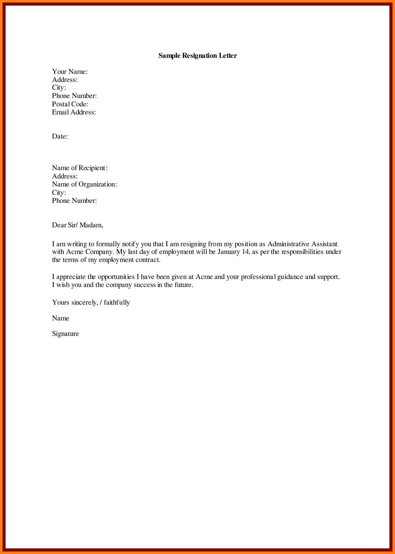 regine letter format in english new resignation letter