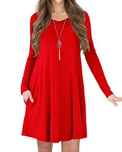 2173f18de9 TINYHI Women s Long Sleeve V-Neck Slit Pockets Casual Swing T-shirt Dress  Good for Spring