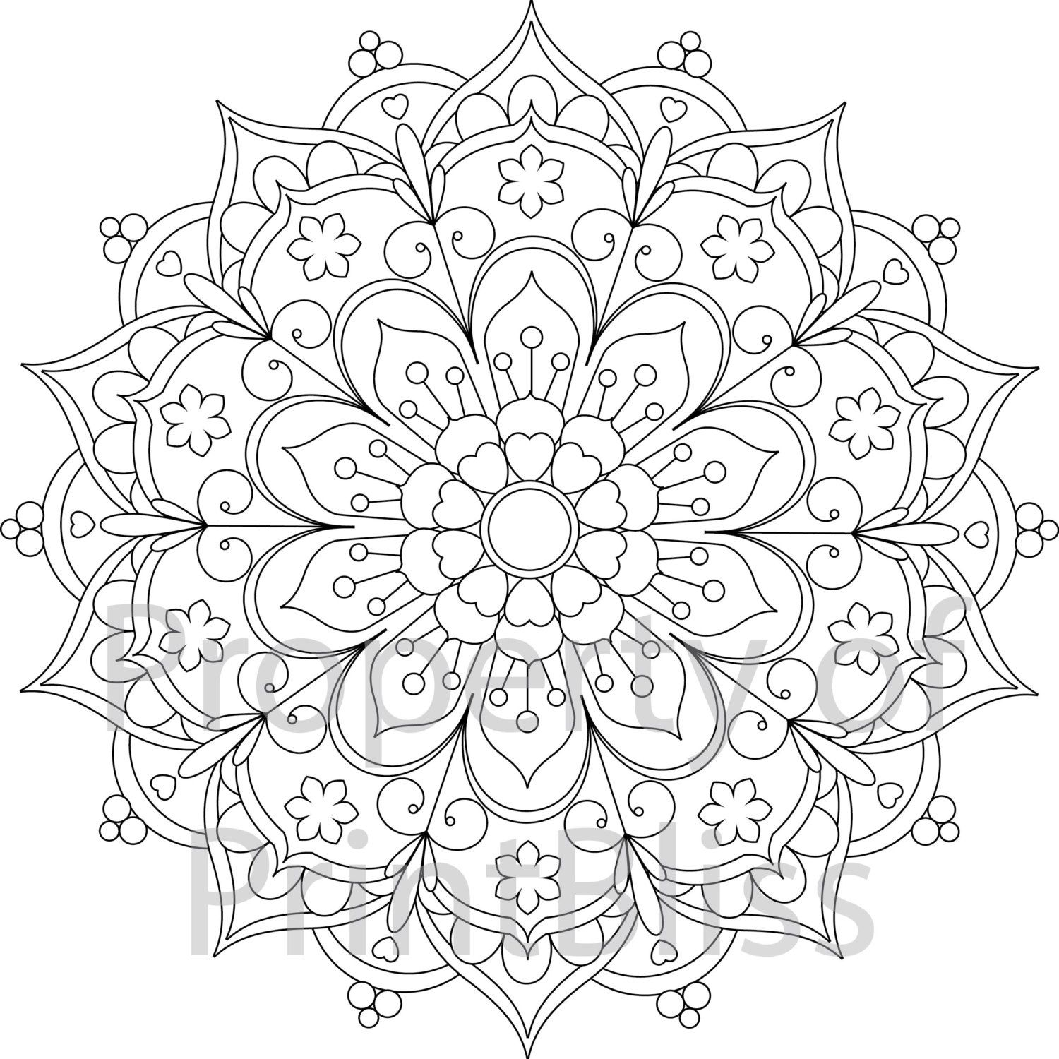 25 Flower Mandala Printable Coloring Page By Printbliss On Etsy
