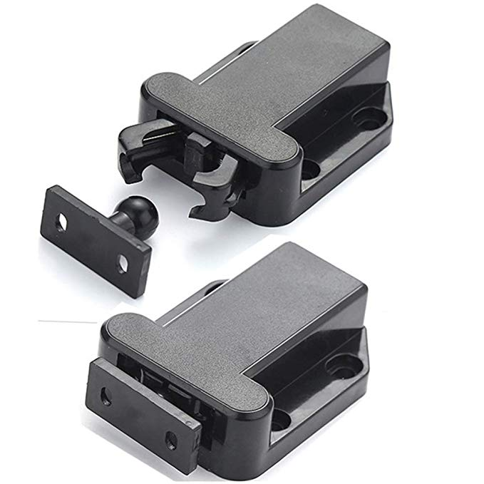2 Pack Sugatsune Black Cabinet Door Touch Latch Catch Non Magnetic Low Profile