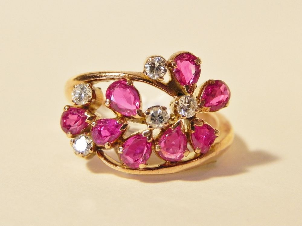 14K Yellow Gold Diamond & Ruby Ring AA Quality Size 5 Appraised $1575 (62)
