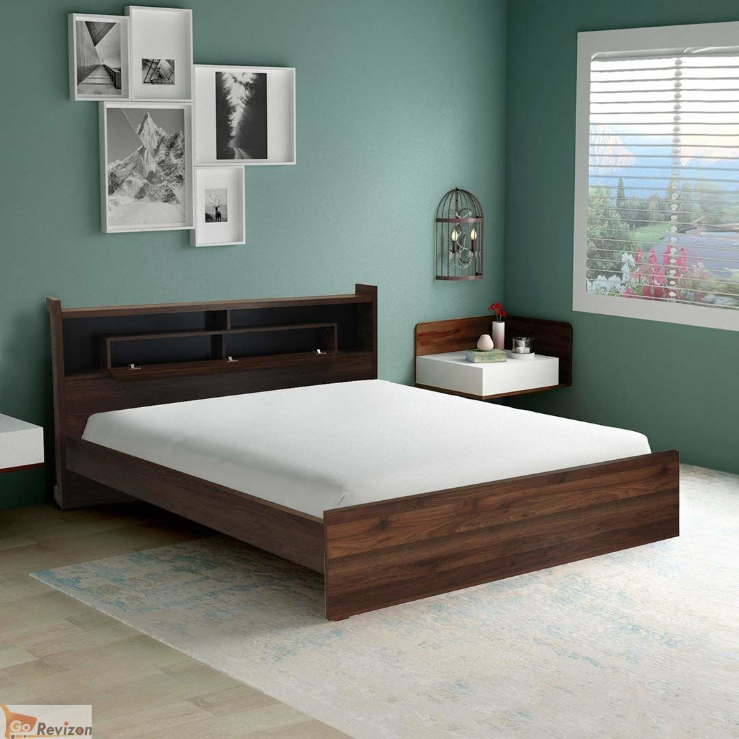 Milan King Size Engineered Wood Bed Particle Board Walnut