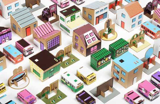 Papierowe Miasto - recycled cardboard town