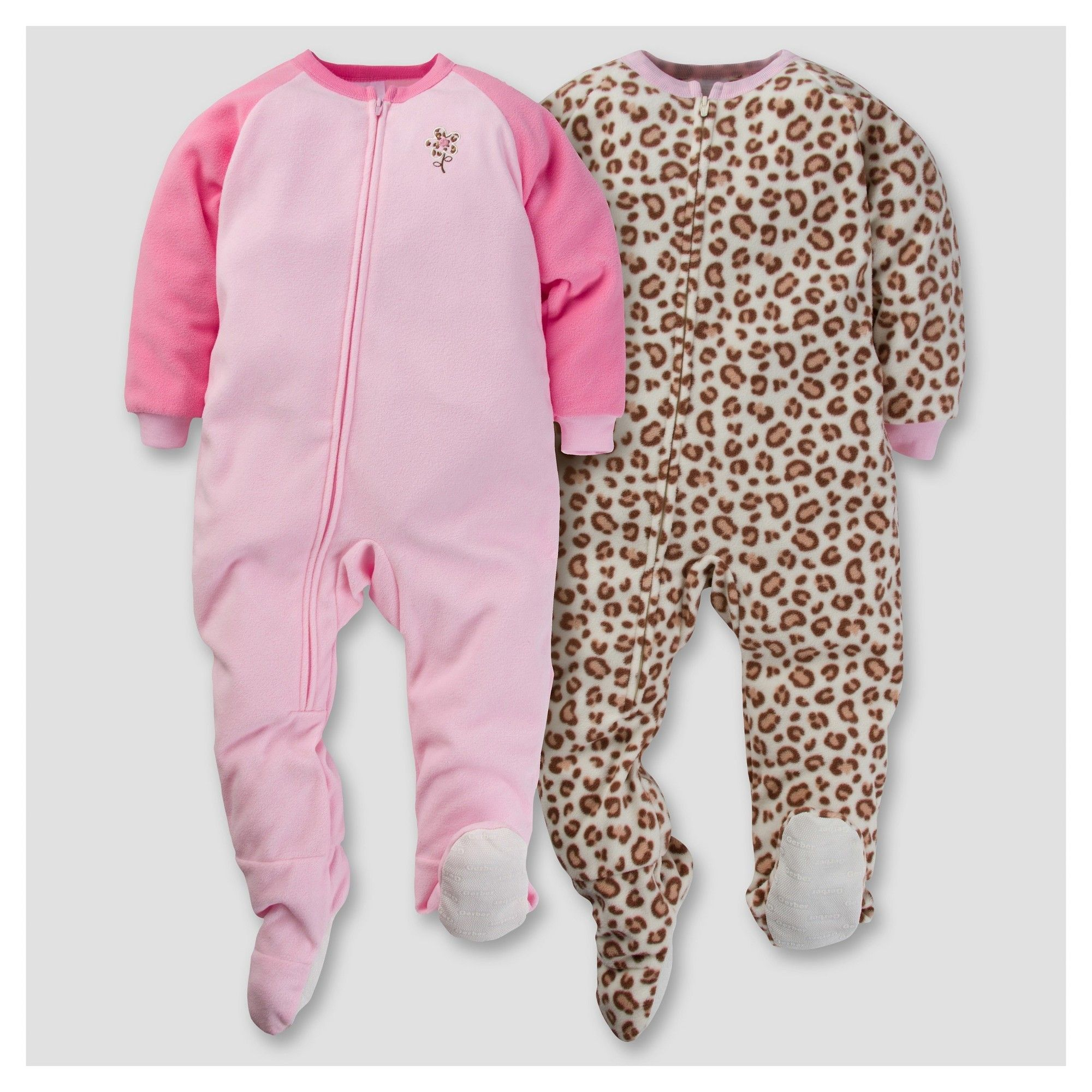 Gerber Toddler Girl 2pk Leopard Print Flower Microfleece Zip-Front Footed  Blanket Sleepers - Pink 5T 1c310ee6f