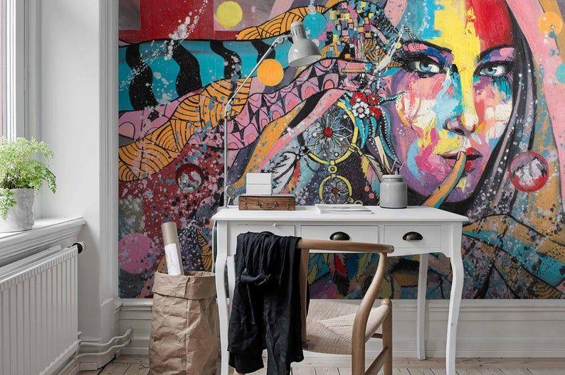 3d Abstract Colorful Graffiti Portrait Wallpaper Removable Etsy Graffiti Wallpaper Feature Wall Wallpaper Mural Wallpaper