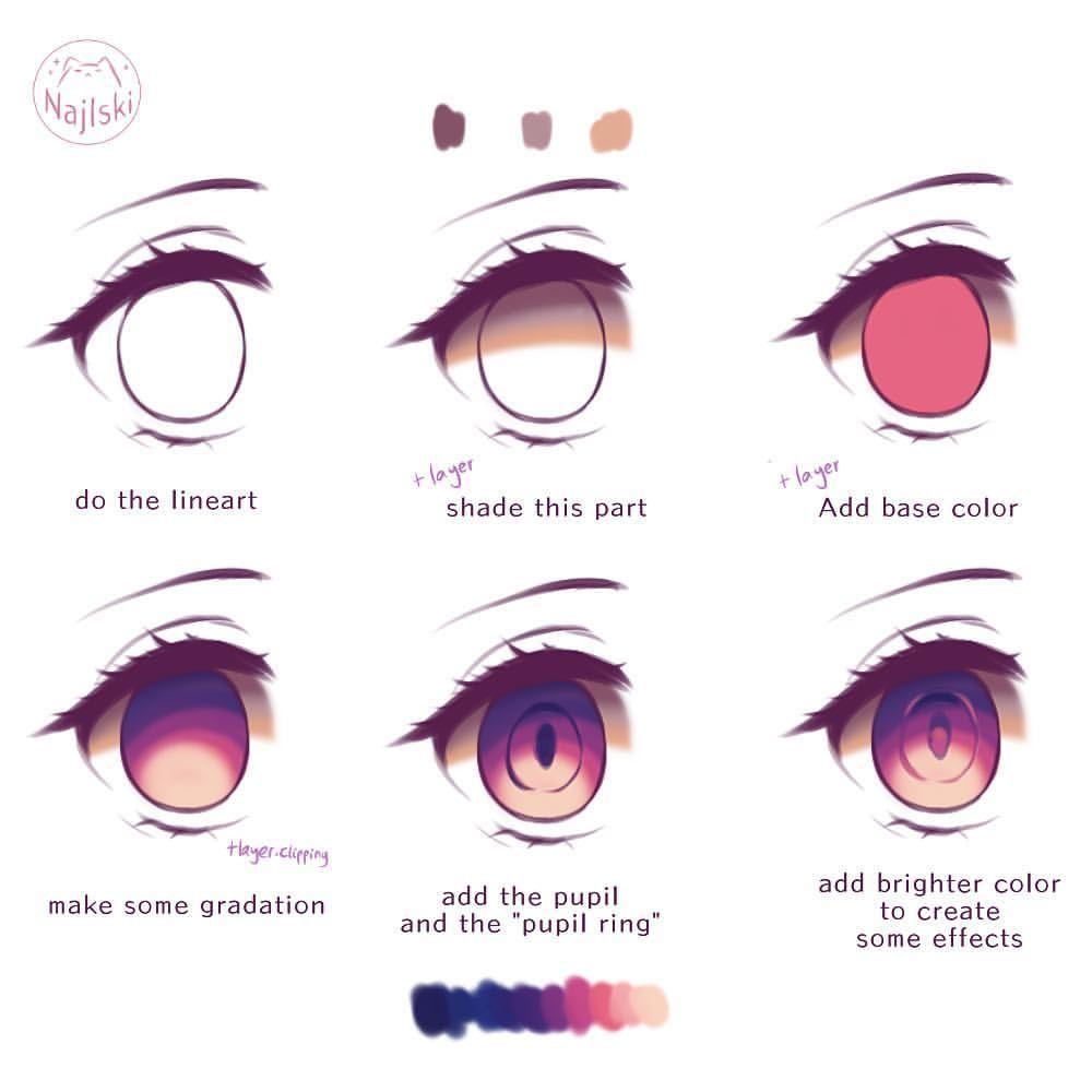 how to draw anime eyes digitally