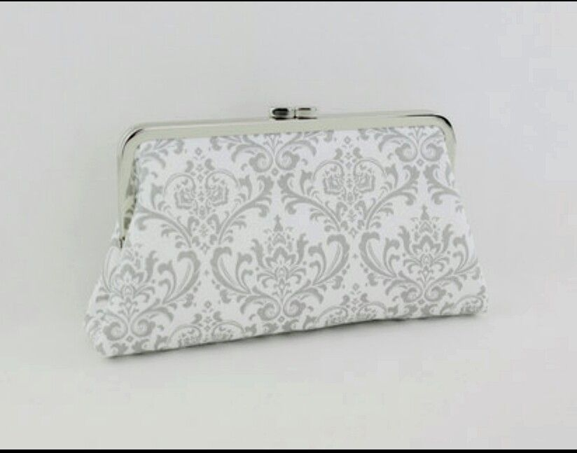 Grey amd White Damask Frame Clutch from http://faxoxo.com/products/grey-white-damask-frame-clutch-minaudiere-wedding-gift