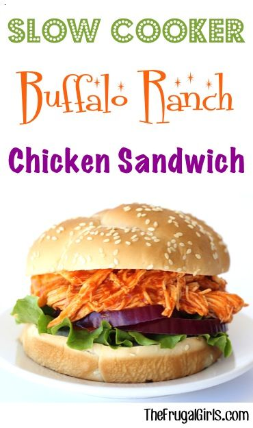 Crock Pot Buffalo Ranch Chicken Sandwich Recipe! ~ from TheFrugalGirls.com ~ just a few simple ingredients and you've got the most flavor packed sandwiches! Such an Easy Crock Pot Dinner or delicious Game Day lunch! #recipes #thefrugalgirls